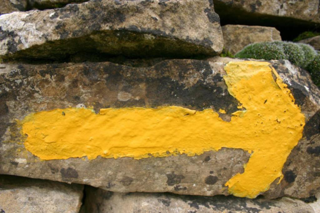 Желтые стрелки на всем протяжении паломнического маршрута не дают заблудиться путникам.