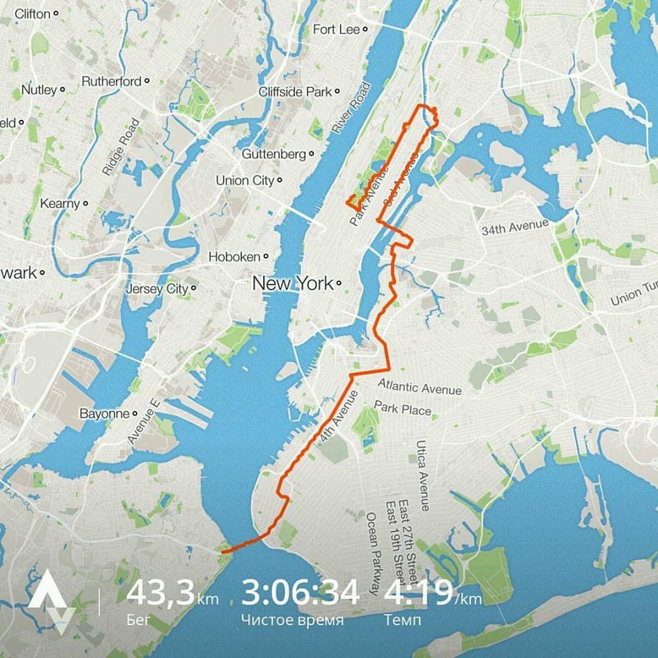Вот как выглядит трасса марафона в Нью-Йорке (личник 3:05:54)