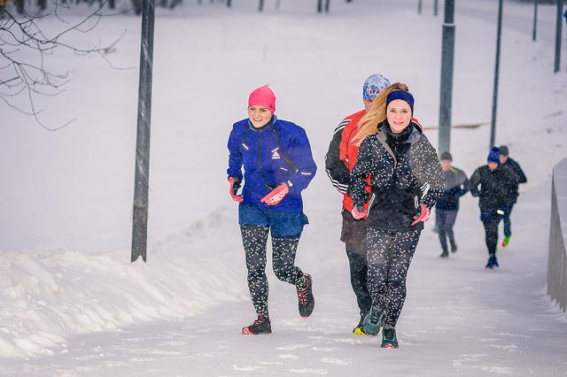 зимний бег бег зимой